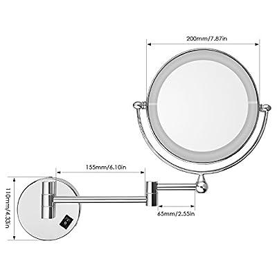 Amzdeal rostfreier Kosmetikspiegel mit LED-Beleuchtung, 1x/7xfach Vergrößerungsspiegel, Doppelseite 360° Drehbar, Leichte Installierung