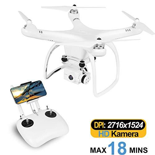 UPair One Plus Drohne mit 120° Weitwinkel-2.7K-HD-Kamera, 5.8G RC-Quadcopter FPV-Liveübertragung, GPS-Auto-Return-Funktion, Follow-Me-Modus, 2.7K-Videodrohne für Anfänger