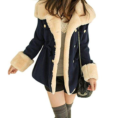 Damen Mäntel, GJKK Damen Winter mode Wärme Zweireiher Wollmischung Jacke Mantel (S-XL) (Marine blau, XXL) (Mischung Wolle Marine)