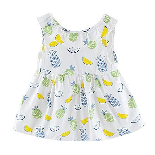 URSING Kleinkind Baby Mädchen Kleid Ärmellos Kleid mit Fruchtmuster Baby-Kleidung A-Linie Kleid Swing Kleid Strand Kleider Sommerkleid