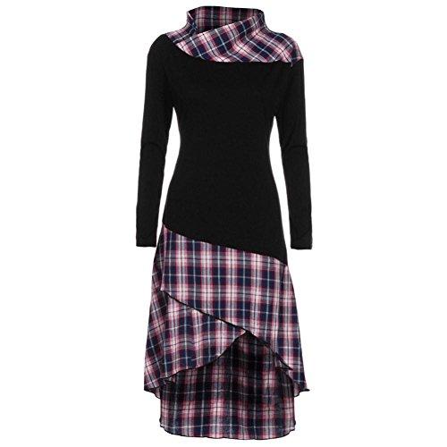 OverDose Damen Casual Kariertes Kleid Hoher Kragen Lange Ärmel Kleid Ostern Partei-Kleid Büro Kleid Frühling Blusenkleid