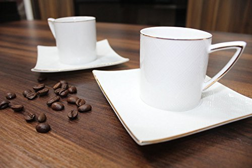 12 tlg. Kaffeetassen - Kaffeeservice Espresso Mokka für 6 Personen • Kaffee Karre Modell • Fein...