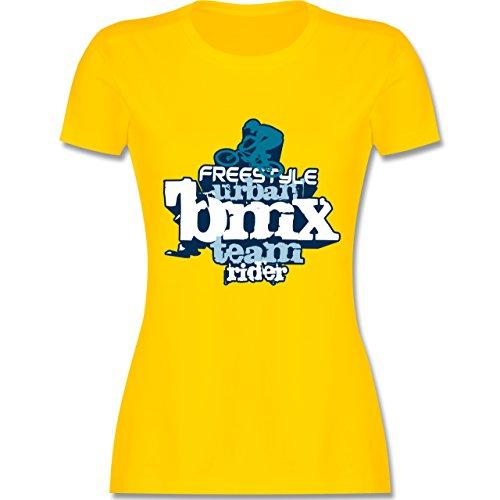 Radsport - BMX - tailliertes Premium T-Shirt mit Rundhalsausschnitt für Damen Gelb