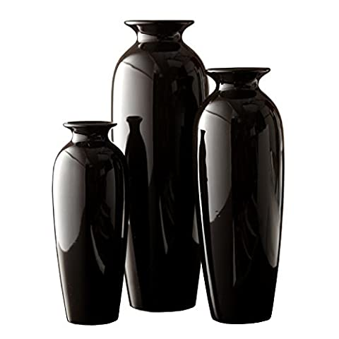 Hosley's Elegant Expressions Set of 3 Black Ceramic Vases in Gift Box- Box of 1 set by Hosley