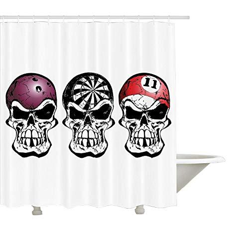 llection, Bowling Darts und Billard Skulls Skelett Angry Horror Pirate Jolly Roger Nachtclub Bild, Polyestergewebe Duschvorhang, schwarz rot ()