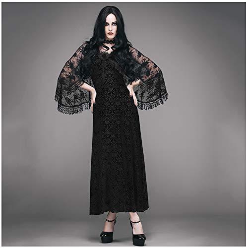 CDCDL Damen Gothic Vintage Kleid -Zweiteiliger Langer Rock, A-Linie Rock, V-Ausschnitt, Quaste, geeignet für Feste, Bankette, Hochzeiten, Kirchen, Cocktailpartys, - Tanz Kostüm Kirche