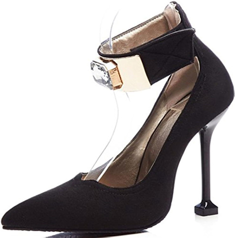 Mujer Tobillo Correa Bomba Corte Zapatos Inteligente Alto Tacón Puntiagudo Dedo Del Pie Fiesta Vestir Grande Tamaño...