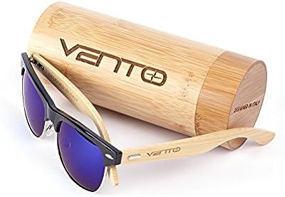 Vento Eyewear® modelo Sirocco Black&Blue - Gafas de sol de madera de bambú, diseñadas en Italia con certificados CE y protección UV400, Marco negro lentes azul