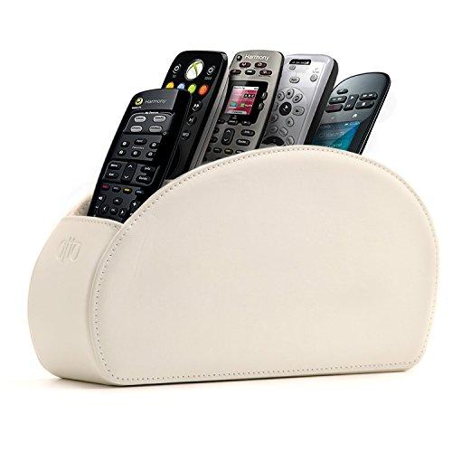 Otto porta telecomandi con 5 scomparti - per contenere telecomandi di tv, stereo, decoder, dvd, blu-ray - in ecopelle con fodera interna in suede. adatto per salotto o camera da letto