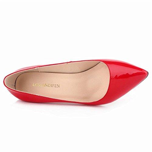Donne Pumps alti talloni di modo punta aguzza Scarpe Tacchi assottiglia le pompe 10cm scarpe con tacchi rosso della donna Red