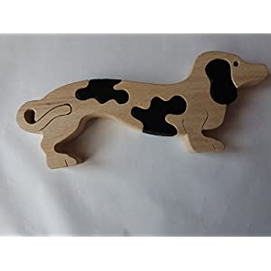 Holz Puzzle spiel hund handgemachtes Dachshundtier spielzeug geschenk für Kinder massives Buchen holz spielzeug dogi…