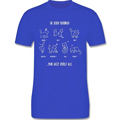Katzen - witziges Katzenmotiv - Todsünden - Herren Premium T-Shirt Royalblau