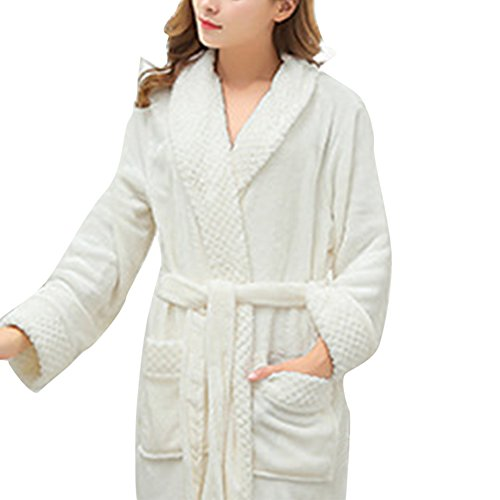Accappatoio donna bianco a maniche lunghe Kimono vestaglia con cinghia, semplice, morbido e assorbente Bianco