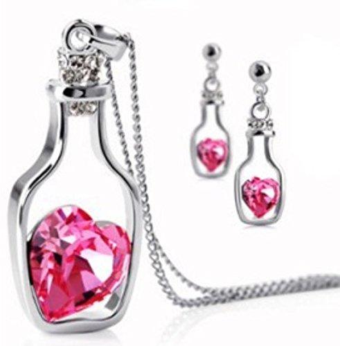 Schmuckset Flaschenpost Rosa Stein Versilbert Modeschmuck Halskette + 2 Ohrringe
