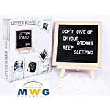 MWG Exports Co 10*10 Inch Felt Letterboard Kids Toy Play Board Easel with 288 Letters, Numbers & Symbols + Free Canvas Bag , Wall Mount and Stand