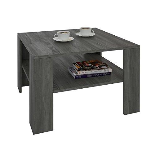Esche Wohnzimmer Tisch (Couchtisch Wohnzimmertisch FELICE in Esche grau mit Stauraum, 68 x 68 cm)