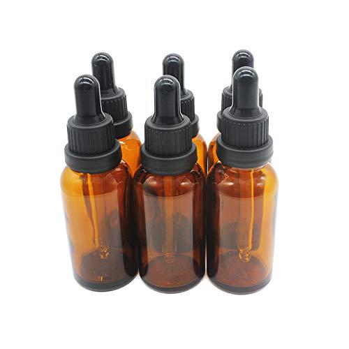 Tägliche Uv-flüssigkeit (One Trillion,6Pcs - 30ml (1oz) Amber Boston Glasflaschen/Ampullen mit klarem Glas Pipetten Pipette für ätherische Öle, Duftöl Probe, chemische Flüssigkeit)