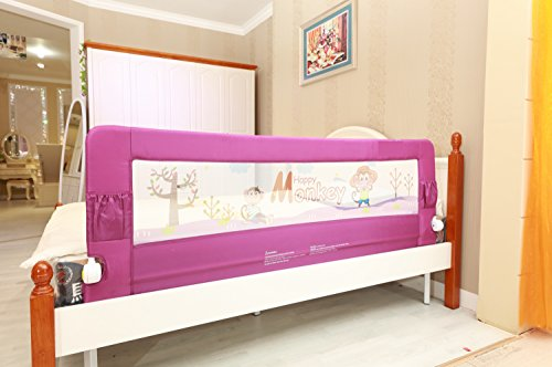 Kiddale Bedrail Foldable Bed Guard To Protect Baby, Kids, Senior Citizens From Side Falling With Push Button