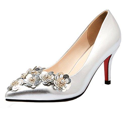 YE Damen Spitz Stiletto High Heel Pumps mit 8cm Absatz und Blumen Elegant Schuhe Silber