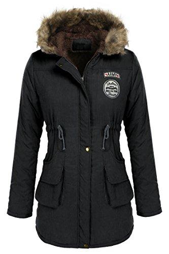 Wintermantel Damen Pagacat Langarm Warme Wolle Kordelzug Parka mit Kapuze und Tasche (XL, Schwarz-1) (Kapuze Kordelzug Hals)