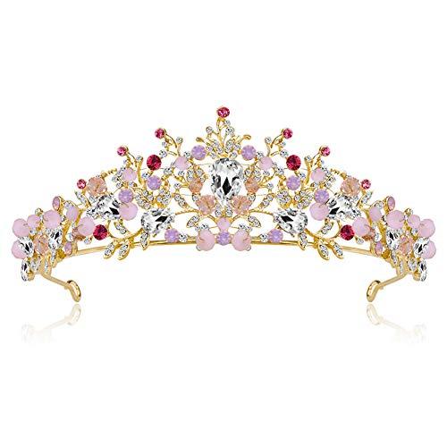(Dastrues Vintage Braut Crown Frauen hohlen Kopfschmuck scheint Prom Hochzeit rosa Krone Strass Dekor)
