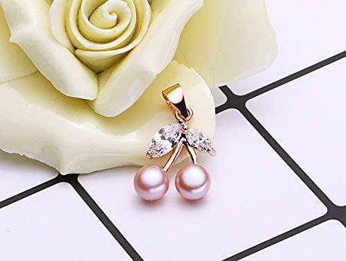 MTWTM Perlmutt Anhänger Silber Mode Damen Schmuck Einfachheit Eleganz Schönheit Kirsche Persönlichkeit Retro Kreativität Süßwasser Perle Rose Gold, Violett -