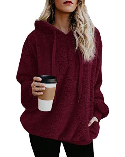 ORANDESIGNE Damen Herbst Winter Kapuzenpullover Hoodie Pullover Teddy-Fleece Mantel Langarmshirt Sweatshirt Mit Kapuze Weinrot DE 36
