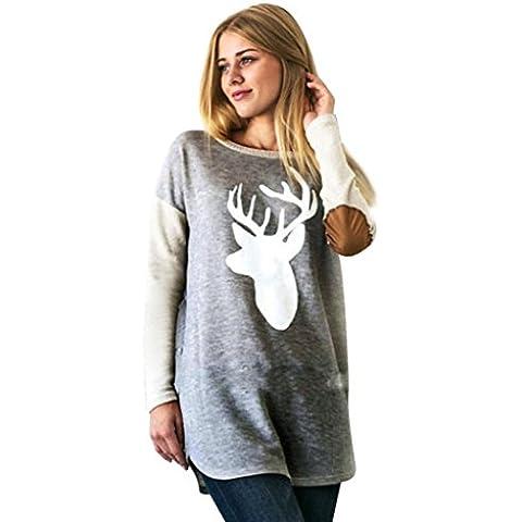 Mujer Blusa Ocasional, GillBerry Moda Ciervos Impreso Camisa Tops Sueltos Camiseta
