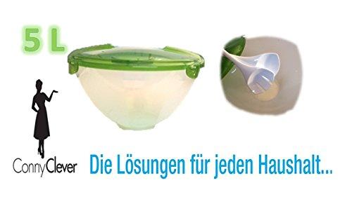 Große Salatschüssel Salat Schüssel Farbe klar Deckel grün mit Besteck Deckel von Conny Clever®