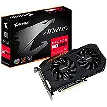 Gigabyte AMD GV-RX580AORUS-8GD 8 GB GDDR5 256-Bit Memory DVI/DP/HDMI PCI Express 3 Graphics Card - Black