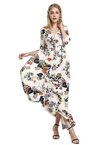ZAN.STYLE Women's V-Neck 3/4 Sleeve Button-up Split Floral Print Long Maxi Dress Summer Beach Dress