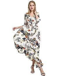 ecb753c06d1 STYLE Robe Longue Chic 3 4 Manche Sexy Imprimé Floral Maxi Robe de