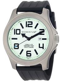 Momentum Cobalt Lite - Reloj analógico de caballero de cuarzo con correa de goma negra - sumergible a 100 metros