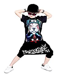Moyuqi Boys Summer Hip Hop Street Dance Children's Dance Short-sleeved Suit Printing Dog Jazz Dance Costumes by Moyuqi
