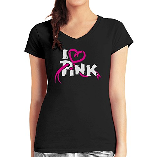 I love Pink - Symbol im Kampf gegen Brustkrebs Damen T-Shirt V-Ausschnitt XX-Large Schwarz (Brustkrebs Frauen T-shirt)