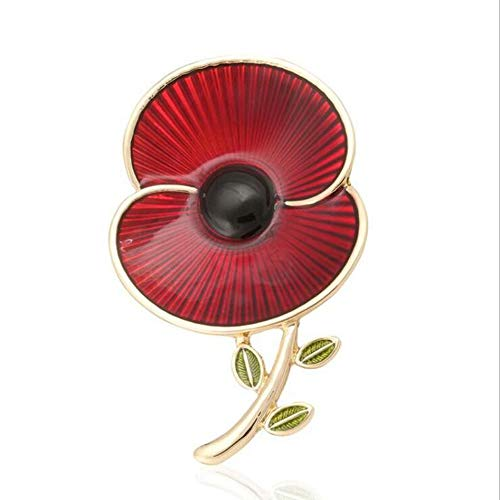 The Royal British Legion The Poppy Collection Enamel and Leaf Brooch Large,Gold