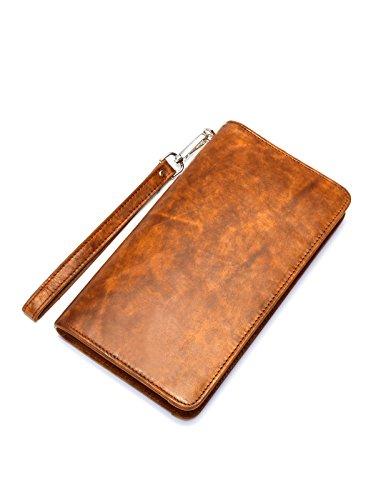Kronen Soehne Leder Lange Brieftasche für Herren Große Kapazität Organizer Scheckheft Kartenetui Reißverschluss-Handtasche KWA014 (Leder-scheckheft-organizer)