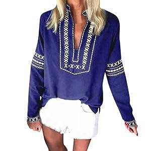 clacce Damen Bluse V-Ausschnitt Langarm Casual Oberteil Lose Langarmshirt Vintage Tunika Hemd T-Shirt Frauen Lose Langarm National Style Print Tops Bluse