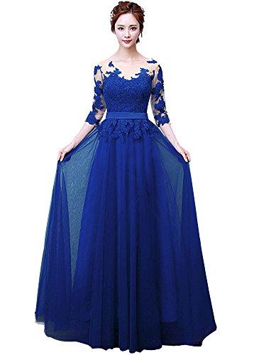Minetom Donna Estate A-Line Lungo Pizzo Abiti Da Sposa Prom Abiti Da Abiti Da Sposa Nozze Vestiti Damigella D'onore Dress Blu IT 44