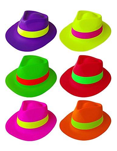 6 x cappello neon vari colori adulto carnevale