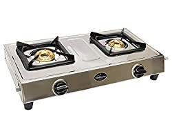 Sunflame Gas Stove (Style DX 2B) - Dimensions : 125 mm H x 370 mm W x 610 mm L - Silver