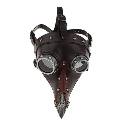 Tubayia Steampunk Maske PU-Leder Nase Pest Arzt Kopf Maske Kostüm Requisiten für Halloween Cosplay Party