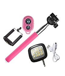 Novo Style Bluetooth Wireless Remote Shutter Selfie Stick - Pink Compatible with Moto G4 Plus & 16 LED Selfie Night Flash Light Accessory Combo