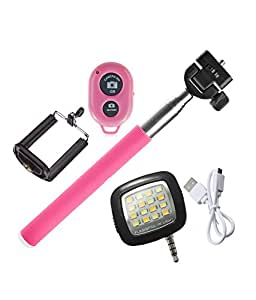 Novo Style Bluetooth Wireless Remote Shutter Selfie Stick - Pink Compatible with Xolo Q800 X-Edition & 16 LED Selfie Night Flash Light Accessory Combo