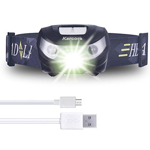 Lampe Frontale USB Rechargeable avec Sensor Switch, imperméable Led Headlamp, Etanche Ultra Puissante Torche Frontale pour lecture, running, trail, randonnée, peche, course, voyage, enfant