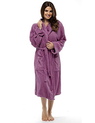 CityComfort Damen Robe Luxus Terry Frottee Baumwolle Bademantel Bademantel hoch saugfähige Frauen mit Kapuze und Schal Handtuch Bad Wickeln (L, Wilde Orchidee)