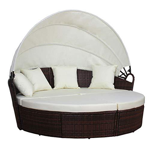 SVITA Poly Rattan Sonneninsel Savannah Liege Garten-Insel Schwarz Grau Braun Gartenmöbel Muschel Lounge (Braun)