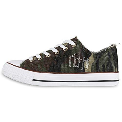 Damen Schuhe Sneakers | Turnschuhe Freizeitschuhe | Low Sneaker | Übergrößen | Prints Glitzer Denim Camouflage Grün