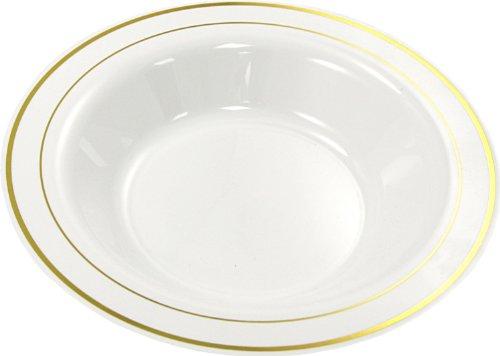 De Sortie – 20 x saladiers en plastique or blanc Jante 22,9 cm 23 cm/Assiettes pour pâtes à soupe d'anniversaire mariage – Sabert moziak