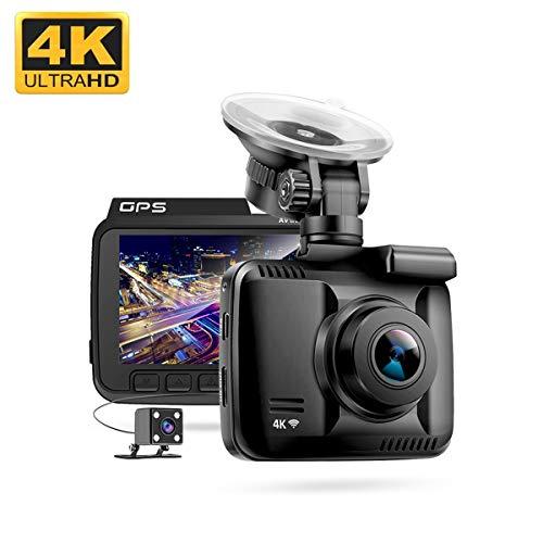 4K Autokamera-UHD 2160P Dash Cam Eingebaute WiFi GPS Dashcam mit Nachtsicht, 170-Grad-Blickwinkel, Bewegungs- und G-Sensor, Schleifenaufzeichnung, 24-Stunden-Parkmonitor, 2,4 Zoll LCD Bildschirm,128GB - Dual Lens Hd Light